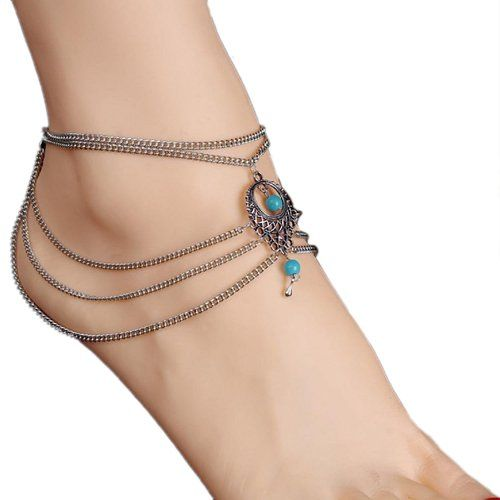 Bohemia Hollow Tassel Barefoot Turquoise Anklet Arm Chain