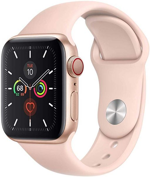 Apple Watch Series 5 Gold Aluminum Case with Pink Sand Sport Band GPS 44mm