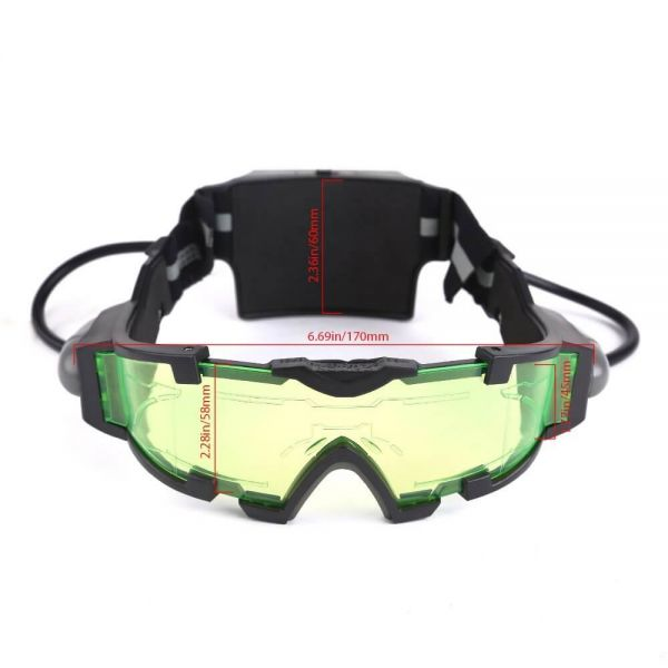 AGM Adjustable Night Vision 25 Feet Goggles with Flip-out Lights Green Lens