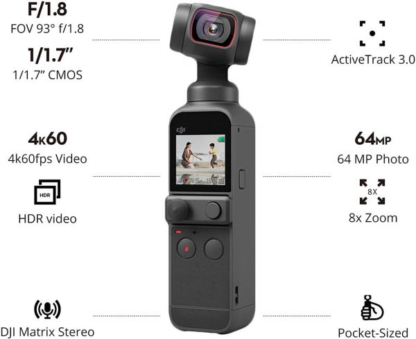 DJI Pocket 2 - Handheld 3-Axis Gimbal Stabilizer with 4K Camera