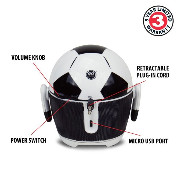 GOgroove Pal Soccer Bot Rechargeable Portable Multimedia Speaker