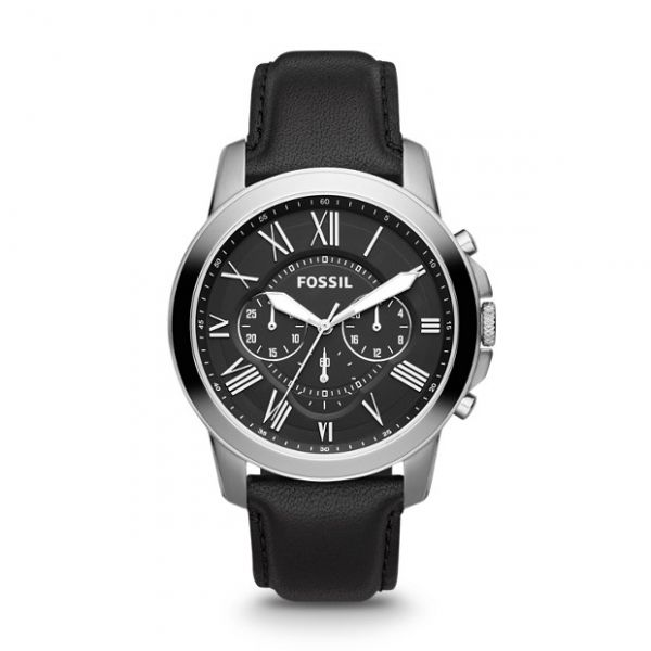 Fossil Grant Men's Black Dial Leather Band Chronograph Watch - FS4812