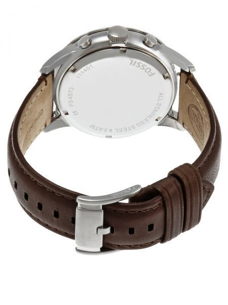 Fossil For Men Black Dial Leather Band Watch FS4873