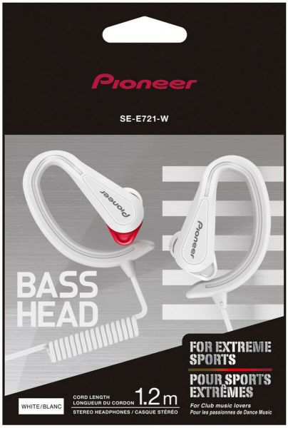Pioneer Fully Enclosed Sports Head Earphones – White [SE-E721-W]