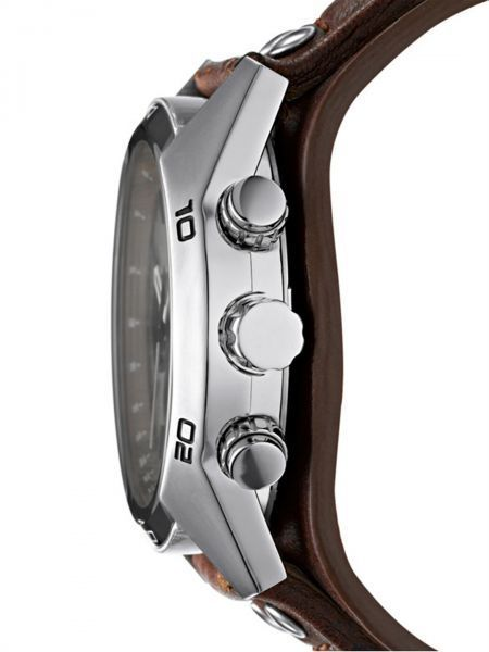 Fossil Cuff For Men Silver Dial Leather Band Chronograph Watch - CH2565