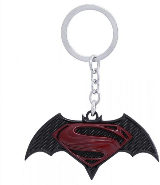 DC Comics Superman and Batman Keychain - Black and Red