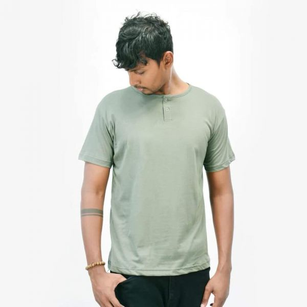 Two Button T-Shirt by Lines - Green