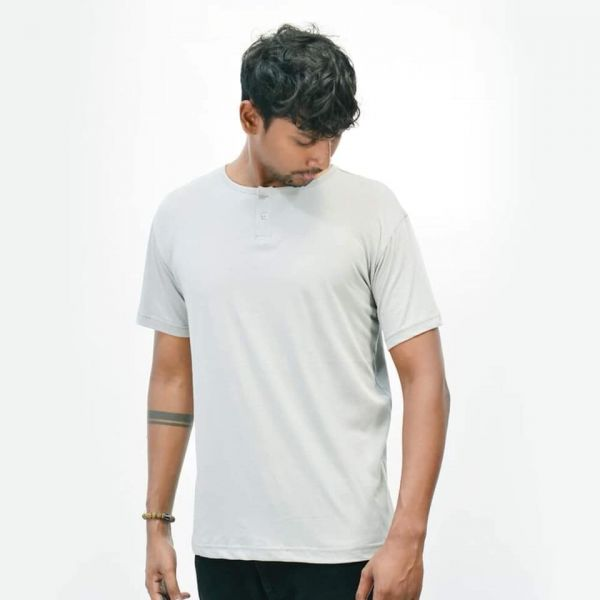 Two Button T-Shirt by Lines - Grey