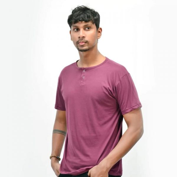 Two Button T-Shirt by Lines - Maroon