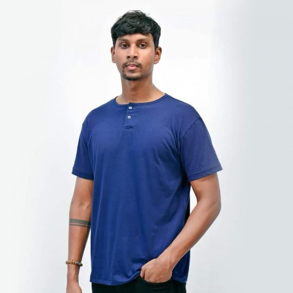 Two Button T-Shirt by Lines - Navy Blue