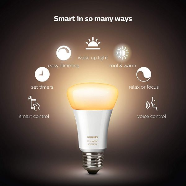 Philips Hue White A19 E27 60 W Equivalent Smart Bulb Starter Kit