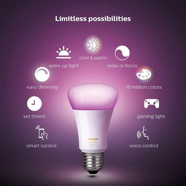 Philips Hue White and Colour Ambience Wireless Lighting B22 Bayonet Cap LED Starter Kit