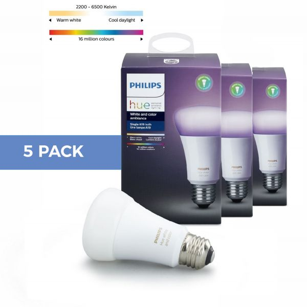 5 Pack Philips Hue White and Color Ambiance E27