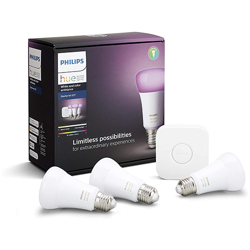 Philips Hue White and Colour Ambience Smart E27 Bulb Starter Kit
