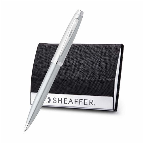 Sheaffer 9306 Gift 100 Ballpoint Pen – Brushed Chrome With Nickel Plated Trim And Business Card Holder (WP19327)
