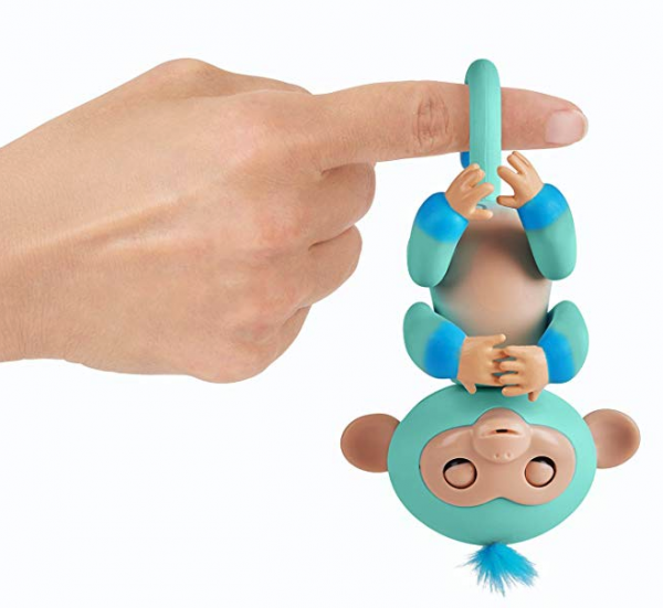 WowWee Fingerlings Baby Monkey - Interactive Toy, Eddie (Seafoam Green with Blue Accents)