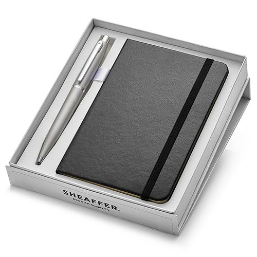 Sheaffer 9400 VFM Ballpoint Pen – Silver With Nickel Plated Trim And A6 Note Book (WP24115)